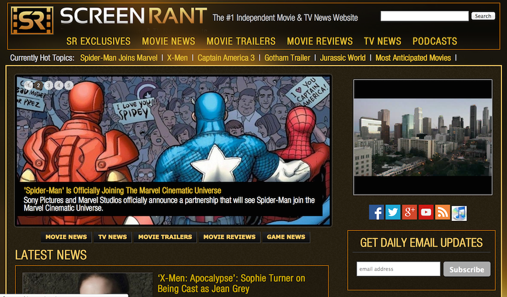 ScreenRant homepage screen shot